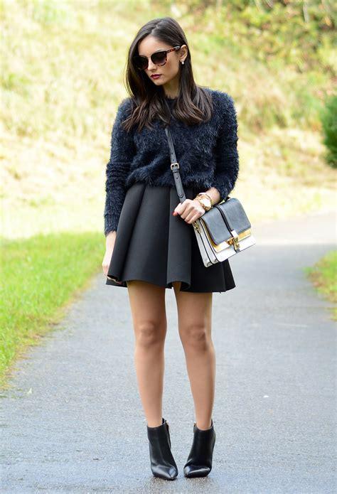 stylish ways  wear  skater skirt  winter fashionsycom