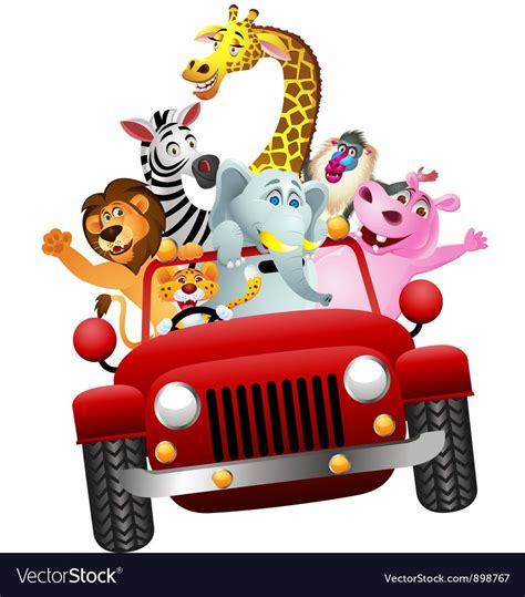 african animals  red car vector image  hracky