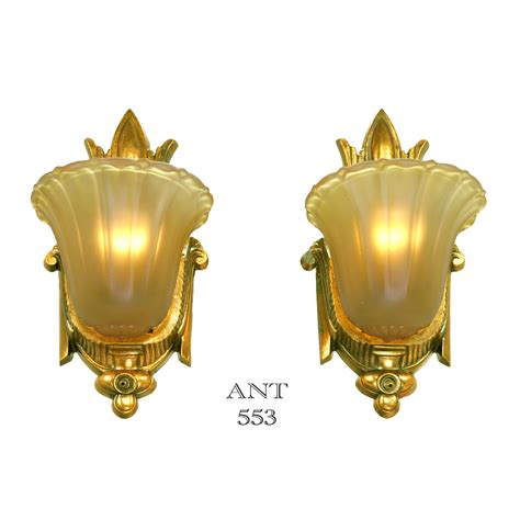 antique art deco ls art deco antique slip shade wall sconces old gold finish