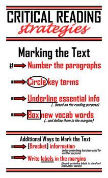 critical reading strategies poster   social studies