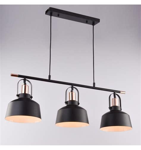 lustre moderne cuisine suspension loft industrielle métal noir 3 abat jours e27 musso