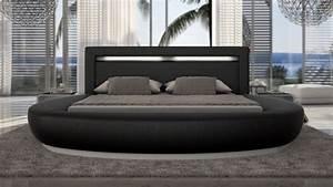 Lit Rond But : lit led simili cuir noir 200x200 cm forme arrondie kovel gdegdesign ~ Teatrodelosmanantiales.com Idées de Décoration