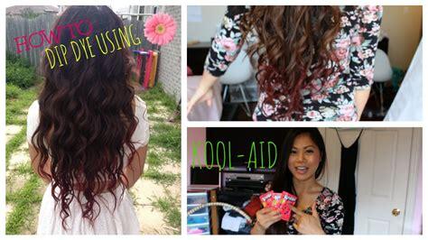 Diy How To Dip Dye Your Hair With Kool Aid ♡ Youtube