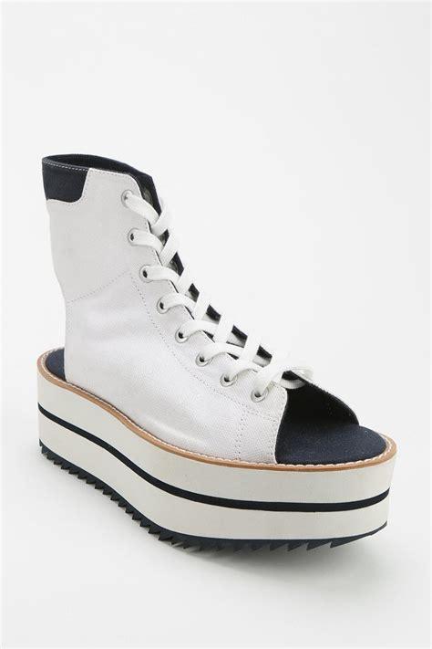 lyst adidas blue platform sneaker  white