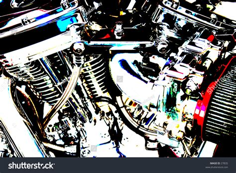 Pop Art Version Of A V-twin Motorcycle Engine Showing