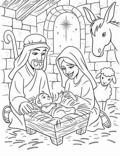 Nativity Coloring Birth Lds Christ Line Primary