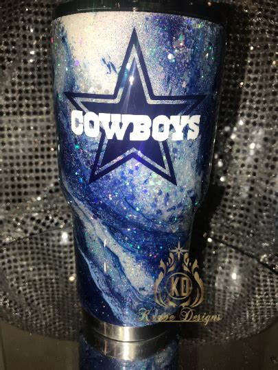 glitter marble dallas cowboys stainless steel tumbler
