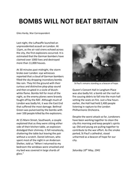 ww blitz newspaper report  slattman teaching resources tes