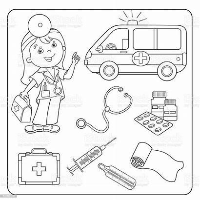 Coloring Doctor Medical Outline Instruments Vector Illustration