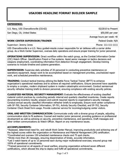 federal resume federal employee applications resume