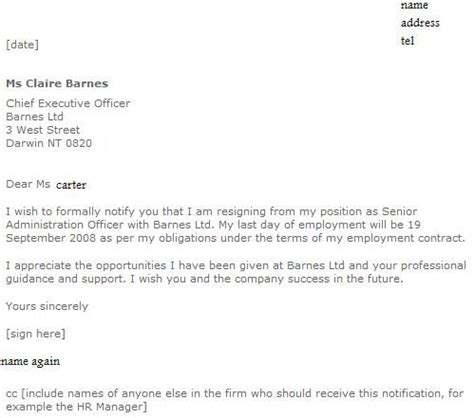 formal resignation letter examples job seekers forums
