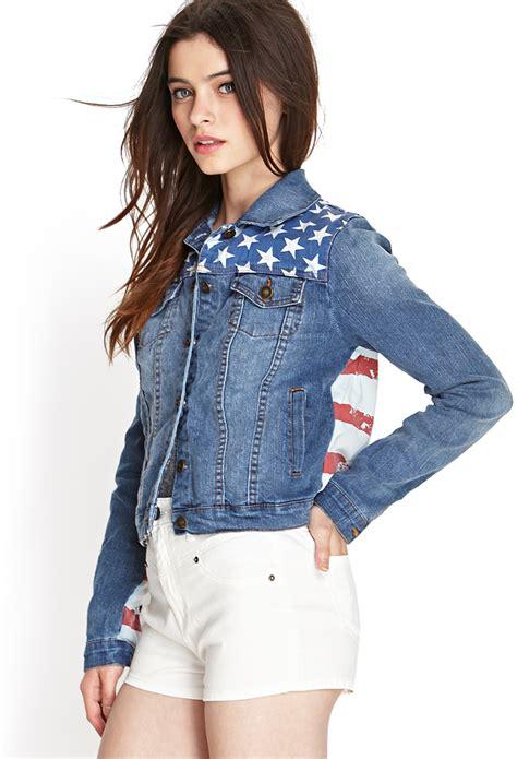 lyst   american flag denim jacket  blue