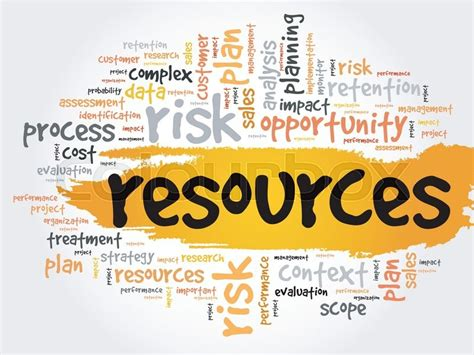 resources word cloud business concept stock vector