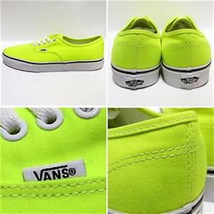 Vans Authentic Neon Yellow True White Women s Skate Shoes