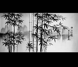 Feng Shui Bamboo Painting Canvas Art Japanese Art Modern