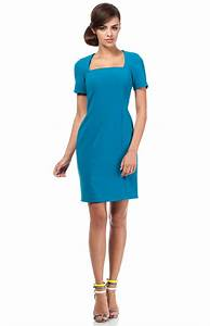small sleeves turquoise pencil dress moe me192t With robe droite manche courte