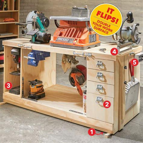 build  space saving flip top workbench workshop