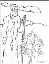 Bush Moses Coloring Burning Bible Burn sketch template
