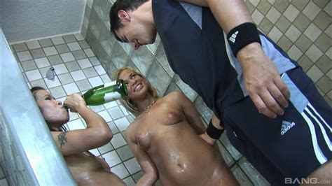 Anal Threesome In The Shower With The Two Naked Teen Sluts