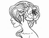 Coloring Hairstyle Pages Wedding Hair Salon Flower Haircut Woman Hairstyles Printable Dibuix Pintar Flor Flowers Adult Per Adults Hairdresser Getcolorings sketch template