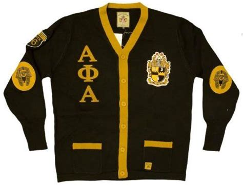 New! Mens Black Alpha Phi Alpha Button Up Thowback 50's Style Cardigan Sweater (4xl