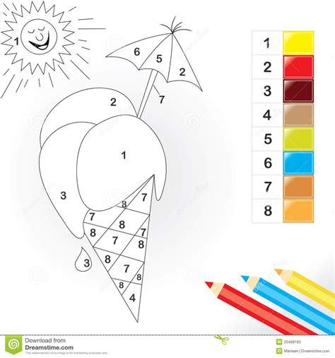 color  number game  kids stock vector illustration