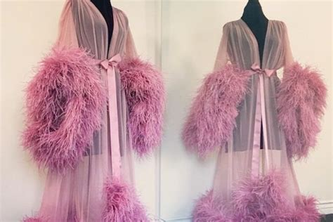 dusty pink ostrich robe  catherine dlish forty winks