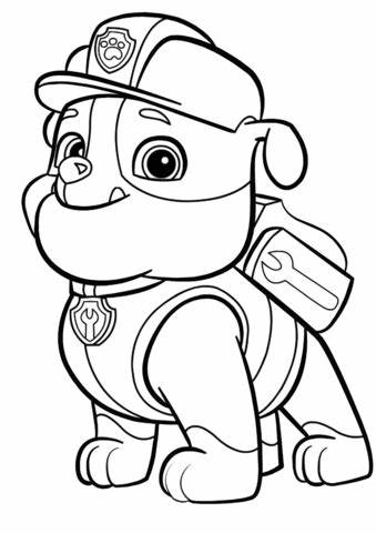 Paw Patrol Rubble coloring page Free Printable Coloring