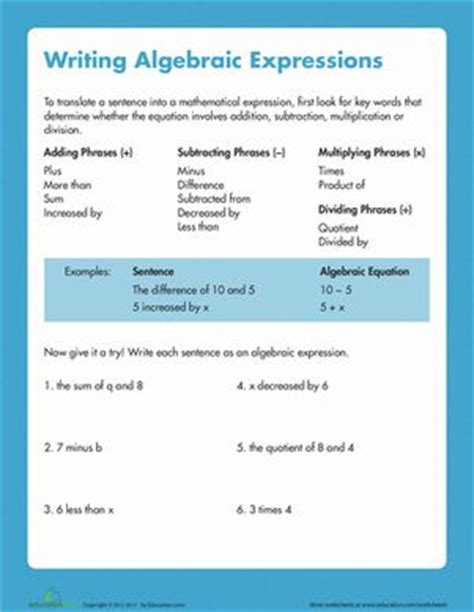 Translating Words Into Algebraic Expressions Worksheets  Algebra Worksheetstranslating Words