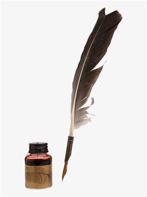 feather quill   matching ink pot pluma de escribir