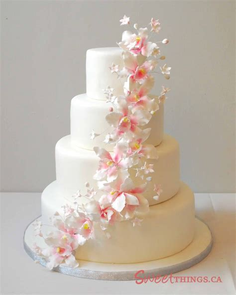 cake designs sweetthings 4 tier wedding cake with sugarpaste orchids