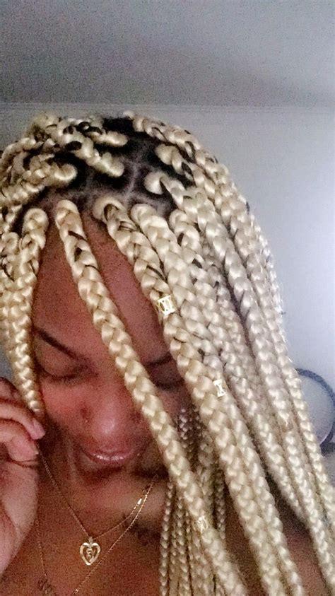 pin  blonde box braids