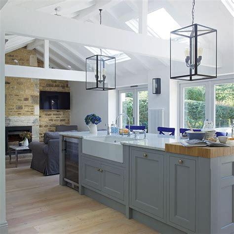 kitchen ideas uk grey open plan shaker style kitchen decorating