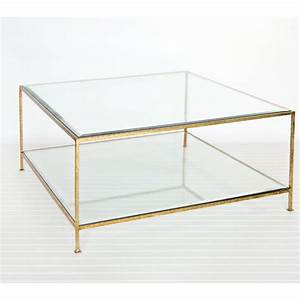 popular square clear glass coffee table beveled edge top With cheap gold coffee table