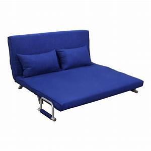 homcom 61quot folding futon sleeper couch sofa bed blue With folding bunk bed sofa