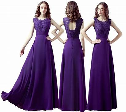 Purple Bridesmaid Cadbury Evening Prom Lace Maxi