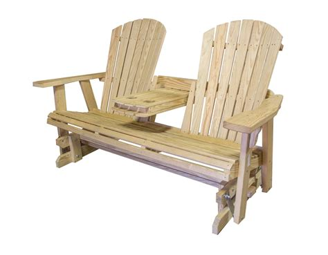 Solid Pine Glider Bench With Folding Armrest Bailey