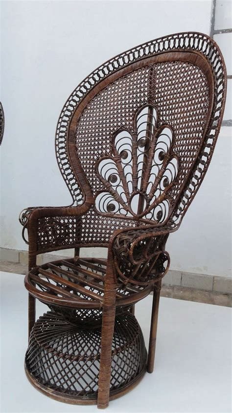 Peacock Armchair by Pair Of Iconic 1970 S Emmanuelle Kristel Wicker
