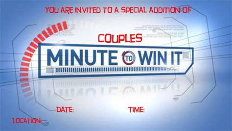 Minute to win it birthday party invitations 10 awesome minute to win it party games happiness is is one of the pictures that are related to the picture before in the collection gallery, uploaded by birthdaybuzz.org.you can also look for some pictures that related to birthday invitations by scroll down to collection on below this picture. Couples Minute to Win It