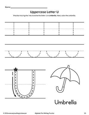 uppercase letter u pre writing practice worksheet