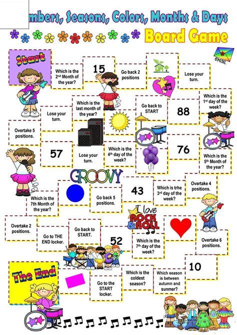 months days colors  seasons board game worksheet