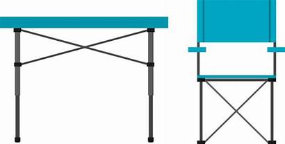 Table Camping Clip Chair Folding Vector Illustrations