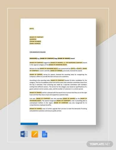 FREE 15+ Press Release Templates in MS Word | PDF | Google ...