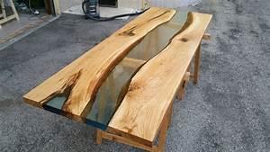 Table Resine Bois : river table durnmast rovere natural resin surface with water effect superficie ~ Teatrodelosmanantiales.com Idées de Décoration