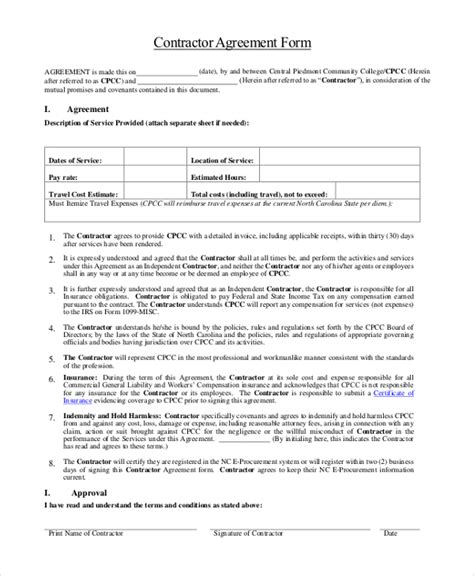 subcontractor contract template gallery templates design