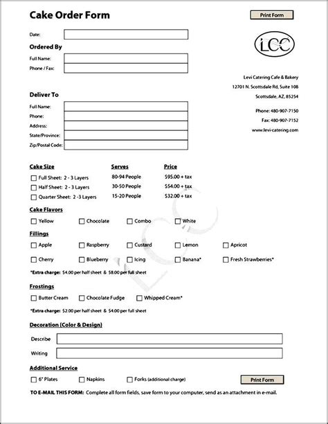 Template For Cake by Cake Order Form Template Free Sle Order Templates