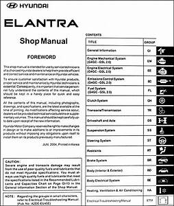 2005 Hyundai Elantra Repair Shop Manual Original