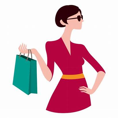 Shopping Bags Transparent Svg Lady Holding Cartoon