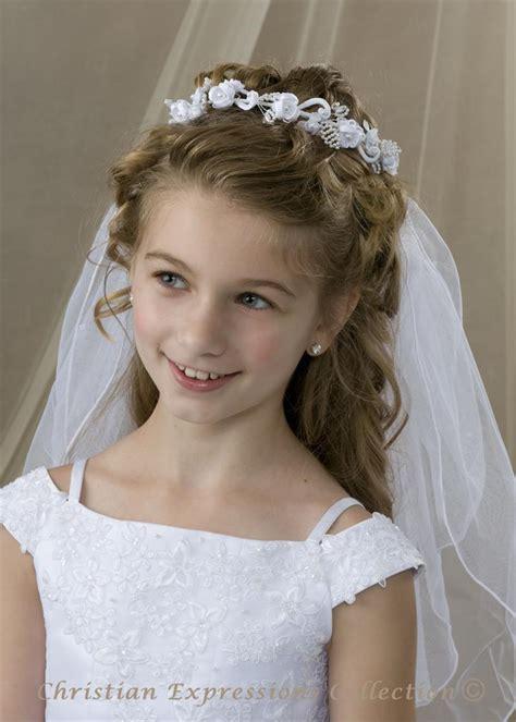 First Communion Bun Wrap Veil V826   Bridal Veils   First