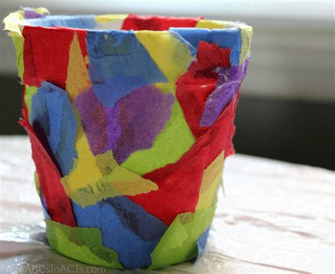 diy flower pot  catchy tissue paper collage print